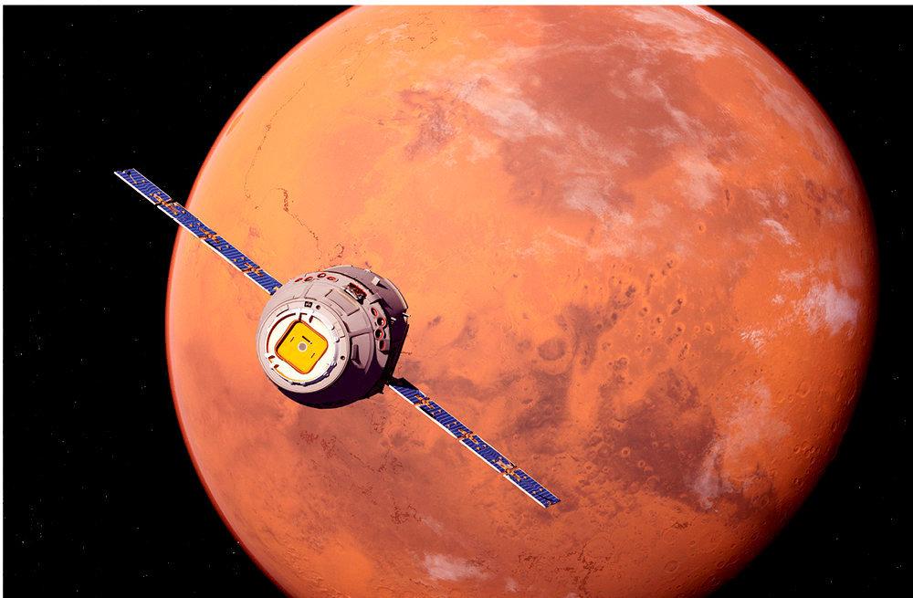 Objectif Mars! Vue artistique d'un vaisseau imaginaire qui transporterait des humains sur la planète rouge. Elon Musk, le patron de Tesla et de SpaceX, qui imagine une fusée pour Mars, pense la chose possible en 80jours, quand la Nasa l'estime à 210jours au minimum.