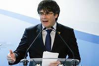 Carles Puigdemont en conférence de presse à Bruxelles le 10 avril.