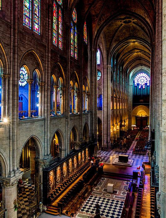 Monumentale. La nef de Notre-Dame, avant l'incendie qui l'a partiellement détruite dans la nuit de lundi.