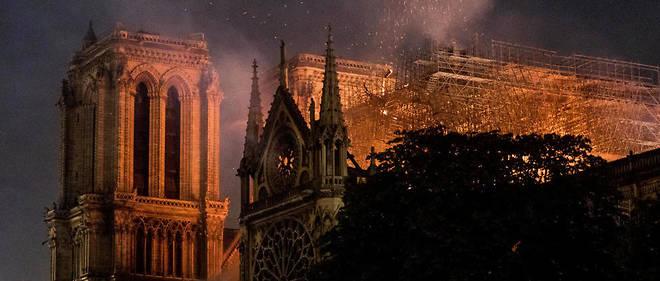 L'incendie de Notre-Dame, lundi 15 avril 2019 au soir.