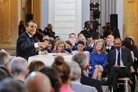 Emmanuel Macron lors de sa conférence de presse.