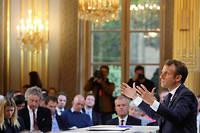 Emmanuel Macron lors de la conférence de presse du 25 avril 2019.