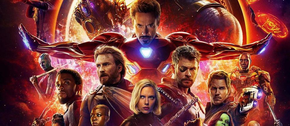 <p>Iron Man, au centre de l'affiche d'Infinity War</p>