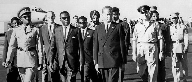 Le secretaire general des Nations unies Dag Hammarskjold, a Leopoldville le 13 septembre 1961. Son avion s'ecrasera 5 jours plus tard.