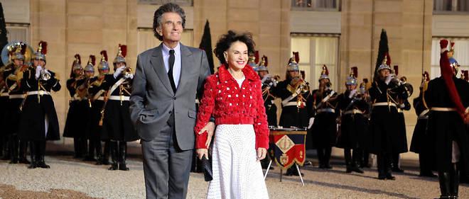 Jack Lang et sa femme Monique dans la cour de l'Élysée le 25 mars 2019 à l'occasion du diner d'État pour la visite du président chinois Xi Jinping à Paris.
