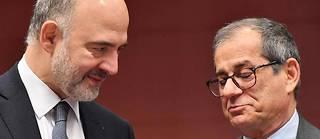 Pierre Moscovici (à gauche) avec le ministre italien de l'Économie.
