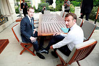 Mark Zuckerberg lors de sa rencontre, hier, avec Emmanuel Macron