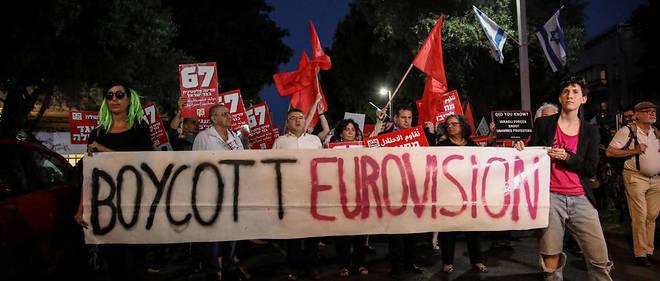 Manifestation à Tel-Aviv le 14 mai 2019 appelant au boycott de l'Eurovision.