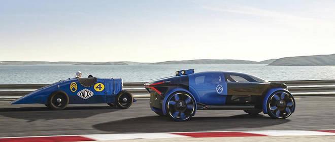 Le concept 19_19 de Citroën est à droite, mais nos lecteurs ne l'auraient pas confondu avec la voiture de record, la Petite Rosalie 1933 qui parocurut 300.000 km d'une traite à Monthléry