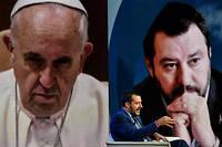 Matteo Salvini durant une émission de Rai 1, en 2018.Salvini a ouvertement porté la contradiction à la ligne d'assistance aux migrants en danger prônée par le pape.