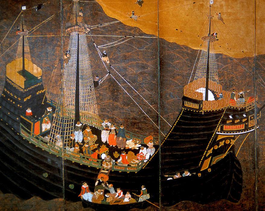 Marchands. En 1543, le navire portugais de Fernão Mendes Pinto débarque à Tanega-shima, sur l'île de Kyushu, au Japon.