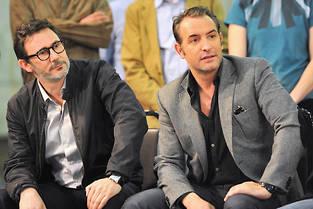 Michel Hazanavicius et Jean Dujardin, le 31 janvier 2012, à Los Angeles.