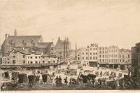 Le palais de l'Ombrière, à Bordeaux, où se tient le Parlement de Guyenne. Montaigne y siège de 1557 à 1570. Illustration de Jules de Verneilh (1823-1899).