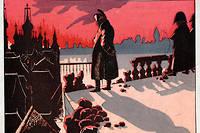 Napoléon contemple l'incendie de Moscou, en septembre 1812, sur la campagne russe. La longue retraite commencera quelques semaines plus tard. Lithographie de Job (Jacques Onfroy de Breville) tirée de « Le Grand Napoléon des petits enfants », 1893.