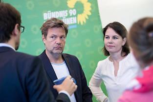 <p>Annalena Baerbock et Robert Habeck, le duo gagnant des Verts allemands.</p>
