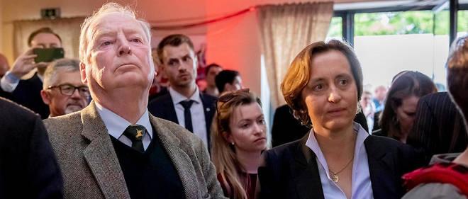 Alexander Gauland, dirigeant de l'AfD, et Beatrix von Storch, vice-présidente, lors de la soirée du parti.