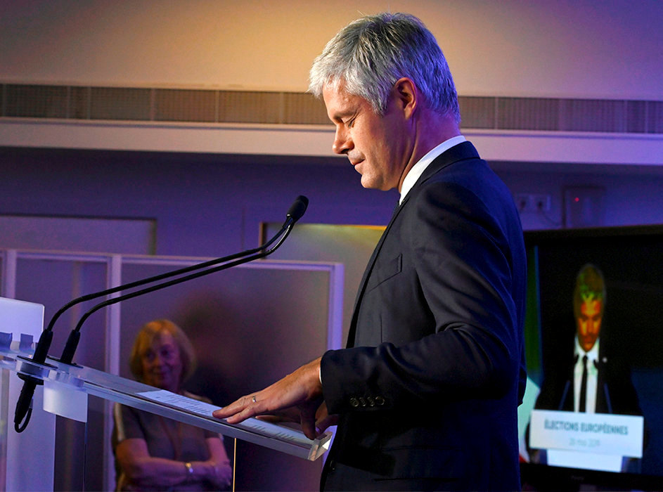 Crépusculaire. Laurent Wauquiez, président des Républicains, au siège du parti, à Paris, le soir de la défaite de la liste LR aux élections européennes, le 26mai.