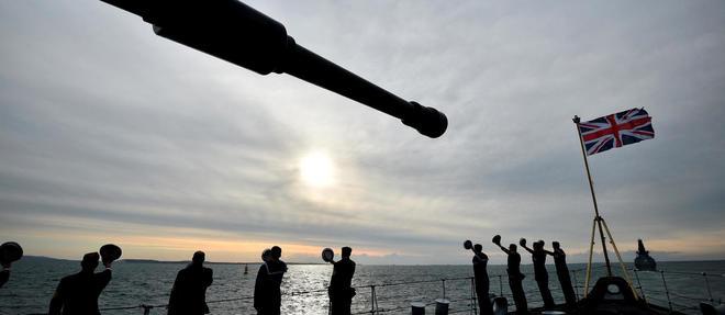 À bord du HMS Northumberland lors des commémorations du Débarquement, au large des côtes anglaises le 5 juin 2019.
