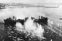 Un bateau nazi bombardé par les alliés.