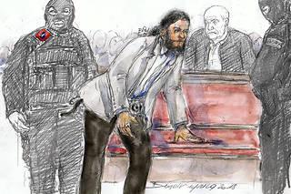 Salah Abdeslam représenté lors de son procès à Bruxelles, pour la fusillade lors de sa capture, en février 2018.