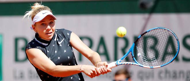 Amanda Anisimova lors de sa victoire contre Simona Halep en quart de finale de Roland-Garros.
