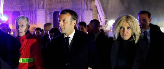 Le soir de l'incendie, dans la nuit du 15 au 16 avril 2019, Emmanuel Macron s'était rendu sur place.