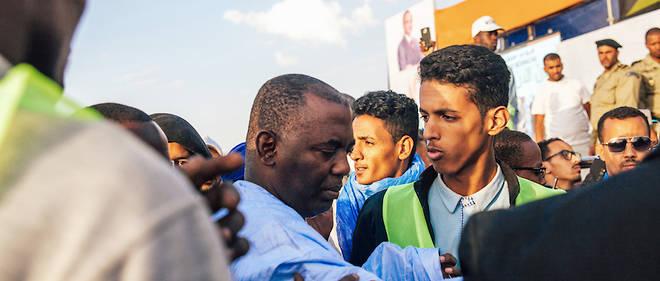 Biram Ould Dah Abeid sur le terrain. Ici, il arrive au stade Mellah de Nouakchott pour un rassemblement politique le 30 mars 2019.