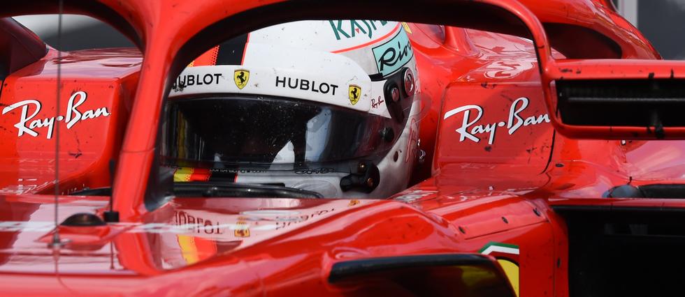 <p>Sebastian Vettel au volant de sa Ferrari lors du Grand Prix de France sur le circuit Paul Ricard du Castellet, le 24 juin 2018.</p>