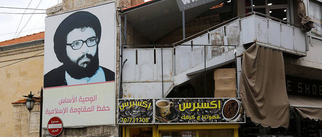 Portrait d'Abbas Moussaoui, l'un des fondateurs du Hezbollah, dans la ville de Baalbek où le mouvement a été créé en 1982.