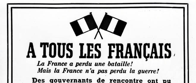 Reproduction datée du 15 août 1940 de l'affiche placardée sur les murs de Londres après l'appel radiophonique du 18 Juin du général de Gaulle.