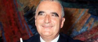 Le candidat Georges Pompidou en campagne pour l'élection présidentielle s'exprime devant la presse en mai 1969. Il est élu avec 58,2% des voix face au centriste Alain Poher, le 15 juin 1969.