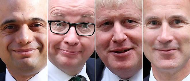 Les 4 derniers prétendants au poste de Premier ministre britannique. Sajid Javid, Michael Gove, Boris Johnson etJeremy Hunt.
