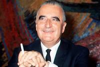 Le candidat Georges Pompidou en campagne pour l'election presidentielle s'exprime devant la presse en mai 1969. Il est elu avec 58,2 % des voix face au centriste Alain Poher, le 15 juin 1969.