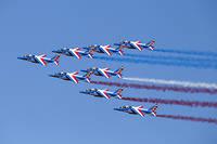 Les Alphajet de la patrouille de France, qui effectuera des démonstrations vendredi, samedi et dimanche.