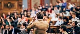 Oral en amphithéâtre, à l'université. (Image d'illustration).
