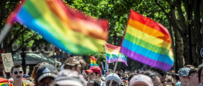 Marche des fiertés à Paris lors d'une canicule record qui a frappé la France le 29 juin 2019.