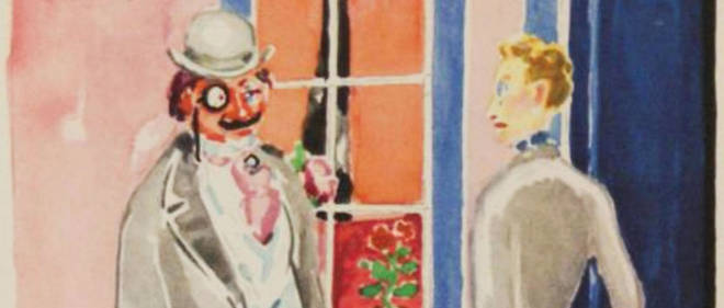Charlus et Jupien devant l'entrée de la maison close de Jupien. Illustration de Kees van Dongen pour l'oeuvre de Marcel Proust, Sodome et Gomohrre.