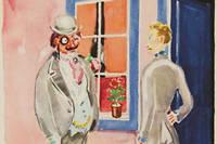 Charlus et Jupien devant l'entrée de la maison close de Jupien. Illustration de Kees van Dongen pour l'oeuvre de Marcel Proust,  Sodome et Gomohrre .