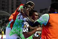 L'attaquant nigérian Alex Iwobi célèbre son but avec ses coéquipiers.