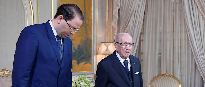Le président Beji Caid Essebsi qui n'est plus réapparu officiellement en public depuis son hospitalisation le 22 juin dernier et le Premier ministre Youssef Chahed.