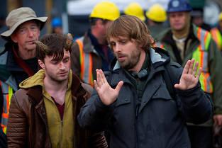 Alexandre Aja et Daniel Radcliffe sur le tournage de «Horns», en 2013.