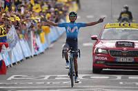 Le coureur colombien Nairo Quintana (Movistar) remporte la 18e étape du Tour de France 2019, à Valloire.