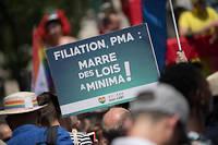 Pancarte pro-PMA lors de la marche des fiertés à Paris en juin 2019.