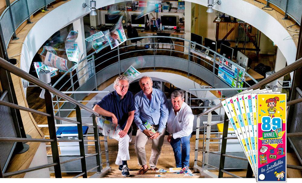 En mode start-up. François Dufour, Gaëtan Burrus et Jérôme Saltet (de g. à dr.). Les trois cofondateurs sont toujours au pilotage. A droite, une édition spéciale des «Incollables» réalisée pour les 30ans de la marque.