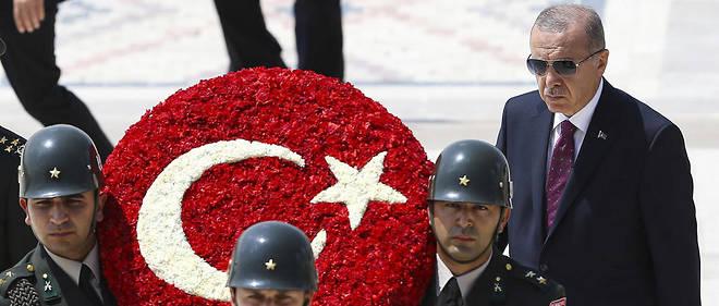 Le président turc Recep Tayyip Erdogan au mausolée de Mustafa Kemal Atatürk, à Ankara, le 1er août 2019.