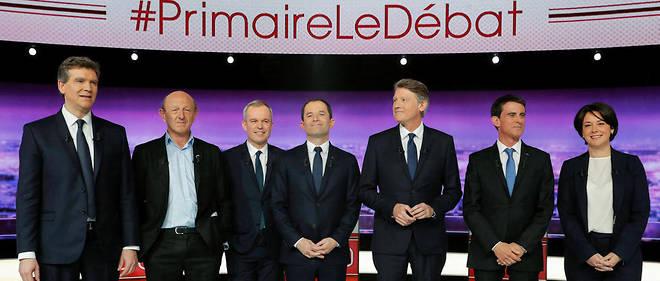 Qui se souvient des candidats de la primaire socialiste en 2017 ? De gauche à droite : Arnaud Montebourg, Jean-Luc Bennahmias, François de Rugy, Benoît Hamon, Vincent Peillon, Manuel Valls et Sylvia Pinel.