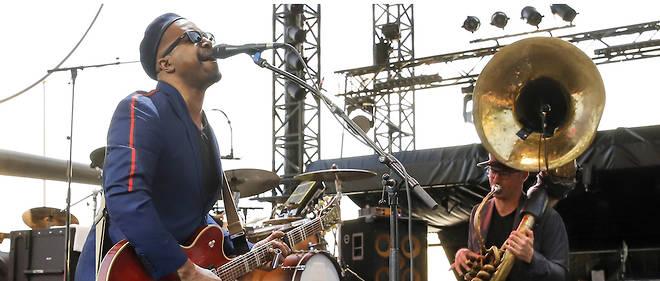 Le groupe Delgrès sur la scène du festival Jazz à Juan-les-Pins le 15 juillet 2019.
