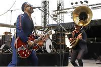 Le groupe Delgres sur la scene du festival Jazz a Juan-les-Pins le 15 juillet 2019.