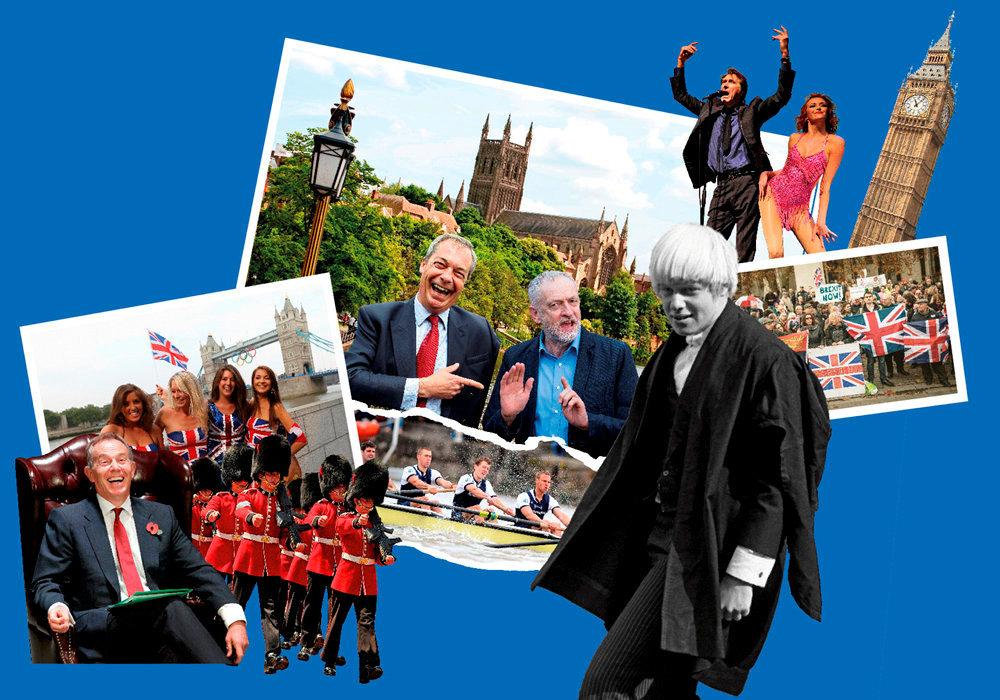 Puzzle britannique. De gauche  à droite: Tony Blair, des supportrices des JO à Londres, des «horse guards», la cathédrale de Worcester, Nigel Farage et Jeremy Corbyn (photomontage), la course d'aviron Oxford-Cambridge sur la Tamise, Boris Johnson étudiant à Eton, Bryan Ferry et une choriste, Big Ben, une manifestation pro-Brexit…