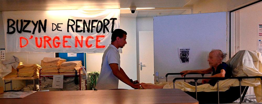 Suractivité. Service des urgences, en grève, du CHU de Rennes, le24juillet. Trois postes de médecins urgentistes titulaires ysont vacants.